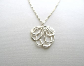 Abstract silver blossom pendant necklace on delicate sterling silver plated chain