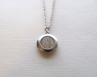 Petite sterling silver round vintage locket on silver chain, upcycled vintage piece