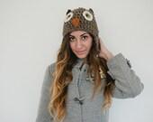 Chunky owl hat, women's owl hat winter hat beanie, adult, ear flap hat,  teen hat, winter, woodland, brown
