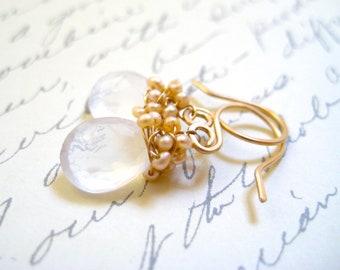 Moonstone Earrings, Bridal Wedding Jewelry, Pink Freshwater Pearls, 14k Gold, Wire Wrapped, Teardrop Gemstone, Handmade Jewelry Sonja Blume