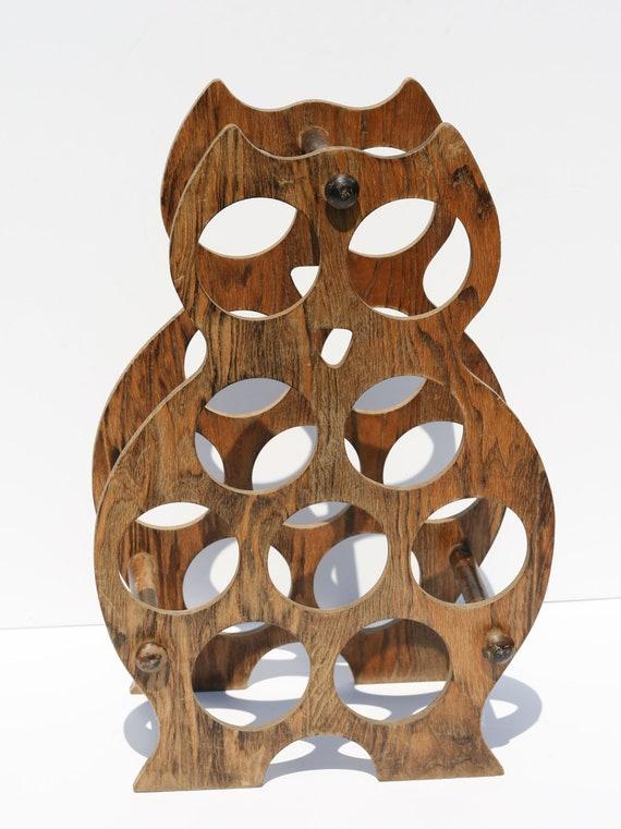 Vintage Mid Century Modern Wooden Owl Wine Rack