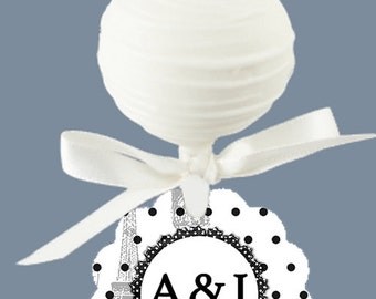 12 Cake Pop Tags, Sucker or Lollipop Tags, Wedding, Shower, Birthday, Luncheon, Eiffel Tower, French Theme, Black & White Colors