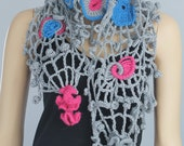 30 % OFF Chic, Boho, Hippie Lace Freeform Crochet Scarf