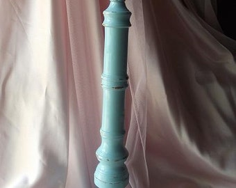 Large Shabby Chic Light Blue Chippy  Candle Stick Holder/ Home Decor/ Bedroom Decor/Rustic Wedding