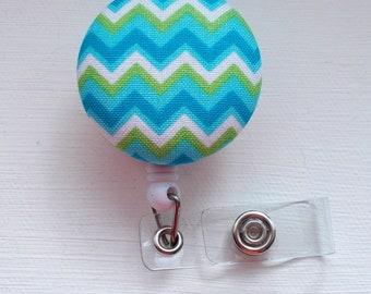 Green and Blue Chevron Stripe - Retractable ID Badge Holder - Cute ID Badge Reel - Name Tag Holder - Nursing Badge Clip