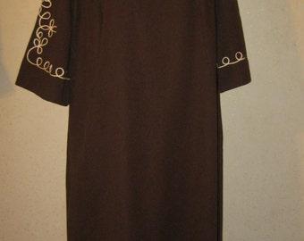Vtg 60s Chocolate Brown W White Piping Mandarin Collar Caftan Dress XL XXL