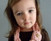 SALE - Unique Pink Organic Crochet Cowl Infinity Scarf  - Toddler -  Ready to Ship