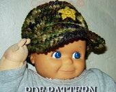 Military Camouflage Baby Hat, Newborn, Baby, Toddler - INSTANT DOWNLOAD Crochet Pattern