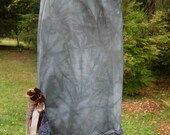 SALE- Dusty Blue Slip Skirt with Brown Flowers and Ruffles