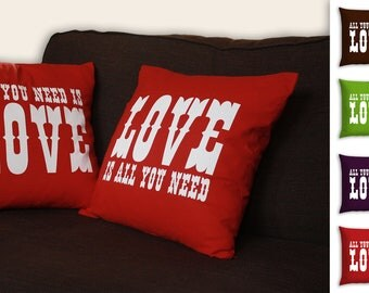 All You Need Is Love - Pair of Cotton, screenprinted cushion covers.  Unique and individual gifts
