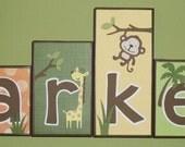 Personalized Wood Blocks - M2M a safari babies bedding set  - Jungle / Monkey / Safari Baby Name Blocks - Baby Letter Blocks