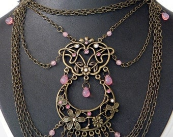 Necklace Neo-Victorian Metals Steampunk Brass Necklace with pink crystals