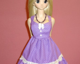 BJD Dollfie Dream Purple Polka Dot Dress