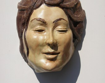 Ceramic Face Wall Hanging Sculpture Head Of A Woman Figurative Art Indoor Outdoor