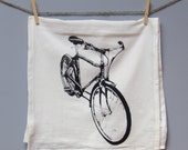 Bicycle Tea Towel, printed in Black on White Floursack