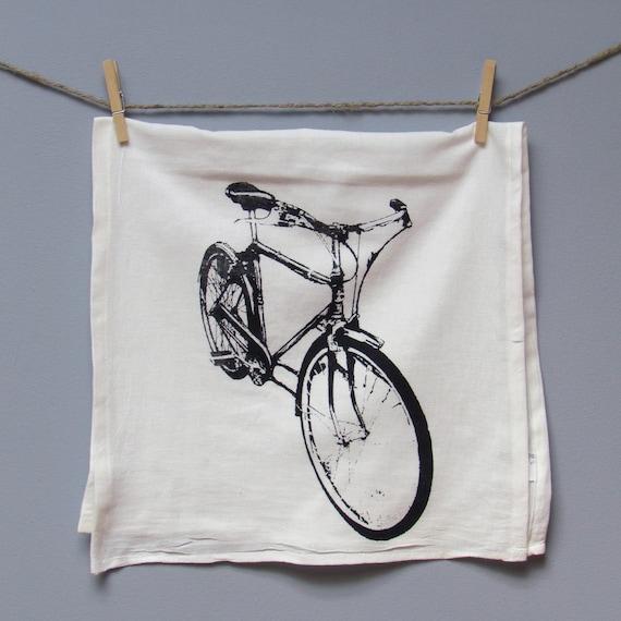 Bicycle Tea Towel, printed in Black on White Floursack ON SALE