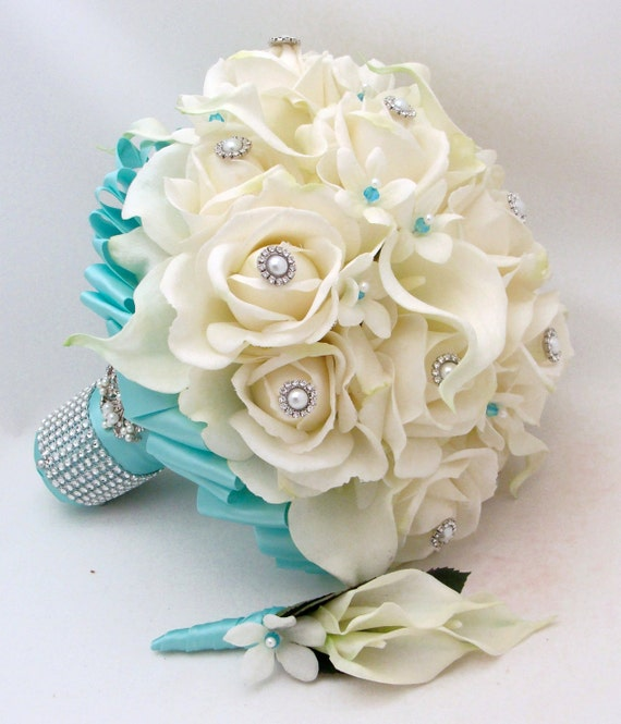 Bridal Bouquet Stephanotis Roses Calla Lily Tiffany Blue Ribbon with coordinating Groom's Boutonniere - Real Touch Bouquet and Boutonniere