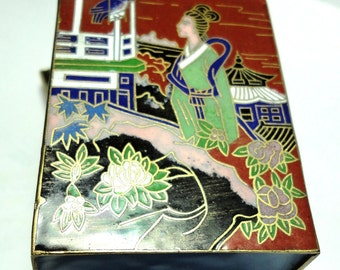 Cloisonne Box Chinese Cloisonne Four Scenes Maroon Enamel Box with Lid