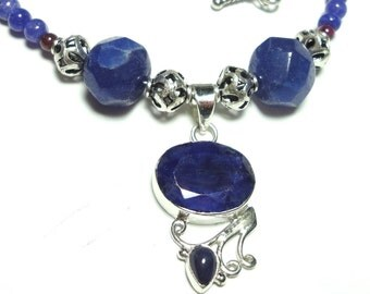 Blue Sapphire Rough Cut Pendant in Sterling with Sapphire and Garnet Gemstone Bead Necklace in Sterling