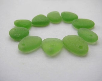 Drilled Green Seaglass, Beach Glass, Jewelry Supply, Genuine Sea Glass, Jewelry Making, lime Green Seaglass