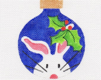 Holly and The White Bunny Needlepoint Ornament - Jody Designs  WB12
