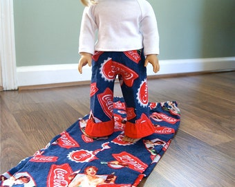 American Girl Matching Pajama Pant Set for Girl and Doll. Size  6 ONLY.  Flannel pants.  Retro coca cola