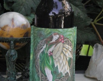 Collapsible Beverage Insulator with Celtic Rowan Fairy Art
