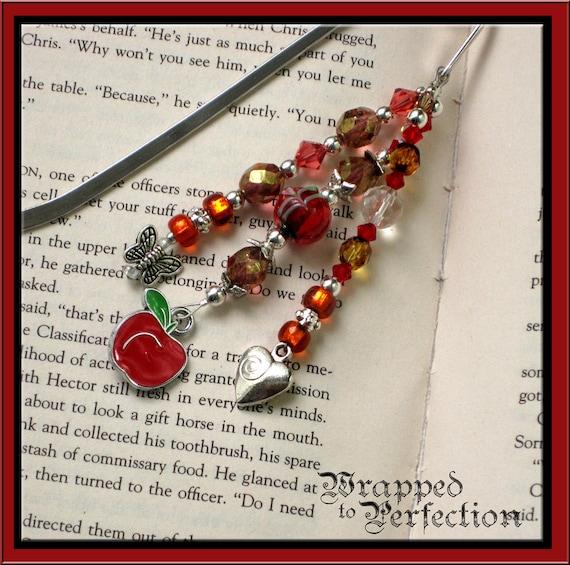 Teacher Beaded Bookmark RED APPLE Charm / Teacher Gift End of Year Appreciation Silver Butterfly Charm Swarovski Handmade Presentation Card