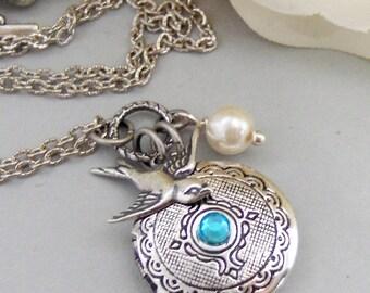 Arielle,Locket,Silver Locket,Silver Bird,Birthstone,Birthstone Jewelry,Antique Locket,Necklace.Handmade Jewelry by valleygirldesigns