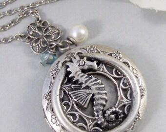 Seahorse,Locket,Sea,Horse,Ocean Locket,Antique Locket,Silver Locket,Goddess,Ocean Locket,Handmade jewelry by valleygirldesigns