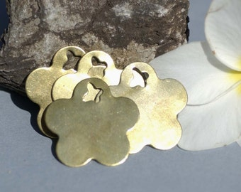 Brass or Bronze Blank Flower with Butterfly 31mm Cutout for Metalworking Stamping Texturing Blanks