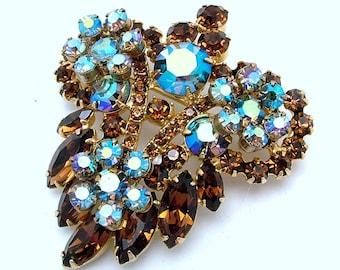 Juliana D&E Vintage Brooch Topaz Marquise Navettes and Aurora Borealis Rhinestones
