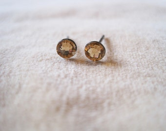 "Surgical Steel Post Earrings - ""Light Colorado Topaz Crystals"" (Hypoallergenic Earrings for Sensitive Ears // Surgical Steel Stud Earrings)"