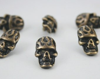 10 pcs. Zinc Antique Brass Fire Skull Rivet Stud Conchos Leathercraft Decoration 12x20 mm. SK BR 1220 RV 31
