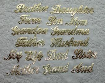 Vintage Dresden Gold Embossed Foil Die Cut Decorations, Family Words