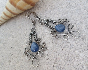 blue kyanite earrings in sterling silver