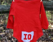 Red Baby Bodysuit with OH front, IO back (on tush), State of Ohio, unique baby gift