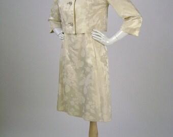 Vintage 60s Dress, Jacket,  Wedding Dress,  Cream, Floral Brocade, Rhinestone Buttons, Sleeveless, Fitted, Field-Schlick Saint Paul, B34 H36