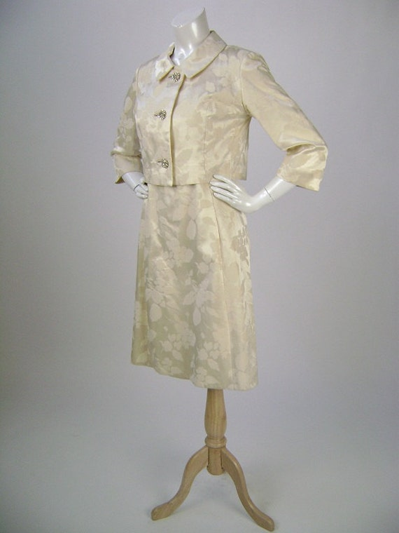 Vintage 1960s Dress and Jacket,  Wedding Dress,  Cream Floral Brocade with  Rhinestone Buttons, Field-Schlick Saint Paul, Size Small B34 H36