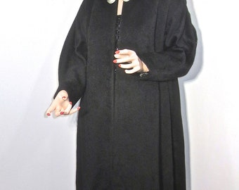 Gorgeous Vintage 1950's Woman's Black Wool Swing Coat with HUGE Abalone MOP Buttons
