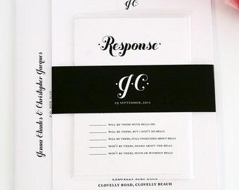 Unique Wedding Invitation Suite - Wedding Invitation, Wedding Invites - Black and White - Whimsy and Script Design - Sample