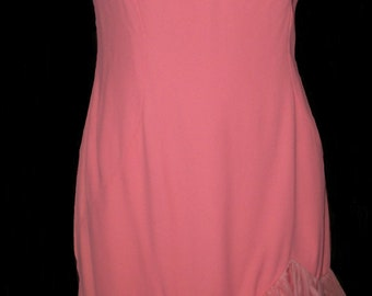 1950s 50s 1960s 60s pink salmon cha cha dress ruffle skirt flare mermaid hem L size