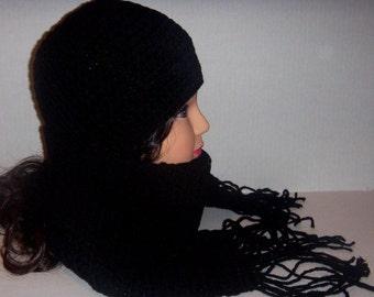 Crochet Black Scarf and Beanie Hat Set, Gift Set, Unisex