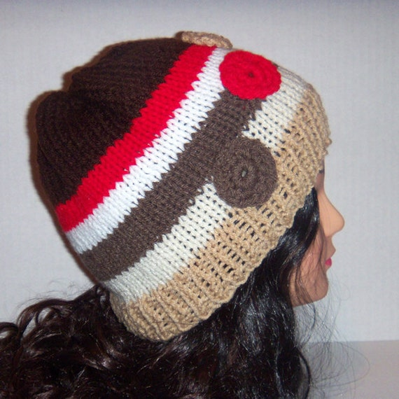 Knitted Beanie, Womans Hat, Striped Sock Monkey Colors, Red, Brown, White and Tan
