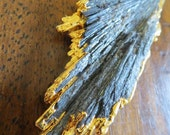 Kyanite Fan Necklace -One of a kind, XL, black kyanite fan, 24 ct gold dipped on gold fill chain