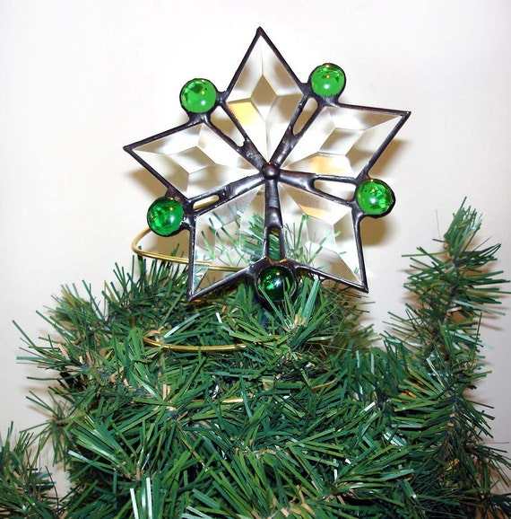 Christmas tree topper, stained glass star, green star tree topper