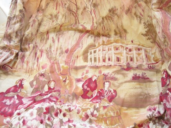 Vintage Skirt Fabric Panel Pastoral Scene Remnants in Pink and Purple