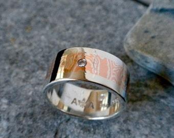 Mokume Gane Wedding Band - Ready To Ship - 10mm Wide Mokume Gane Wedding Band Set With a 1.9mm VS1 Diamond