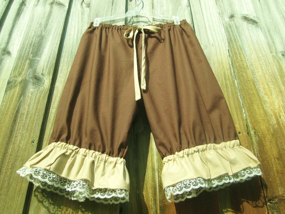 Chocolate Knee length Bloomers with creamy lace and tan ruffles