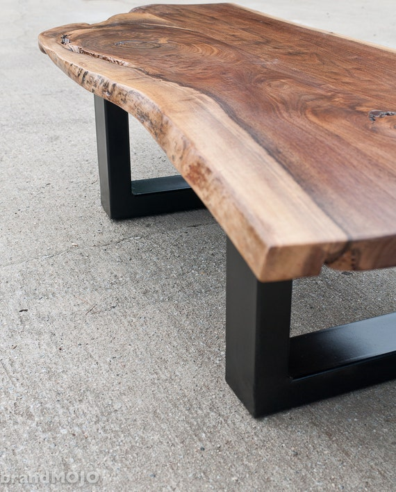 Live Edge Walnut Coffee Table Steel Base Nakashims Style